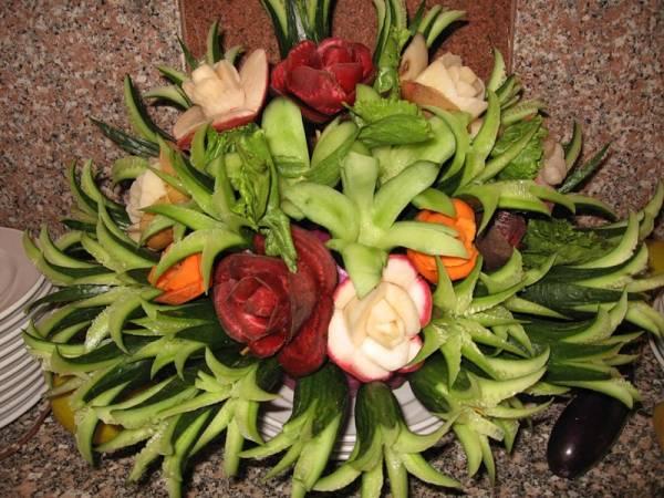 Цветок из овощей своими руками